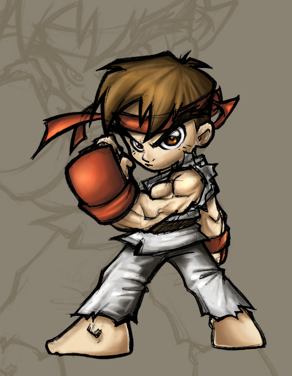 How To Draw Chibi Ryu