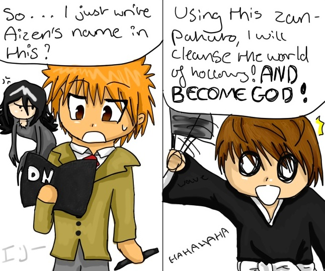 Bleach and Death Note switch by Harnikawa