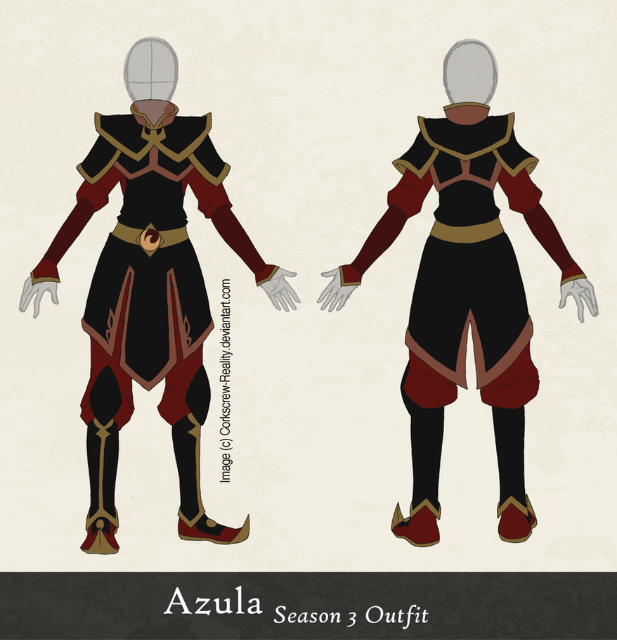 Character Costume Design Tutorial : Azula season outfit reference by corkscrew reality on