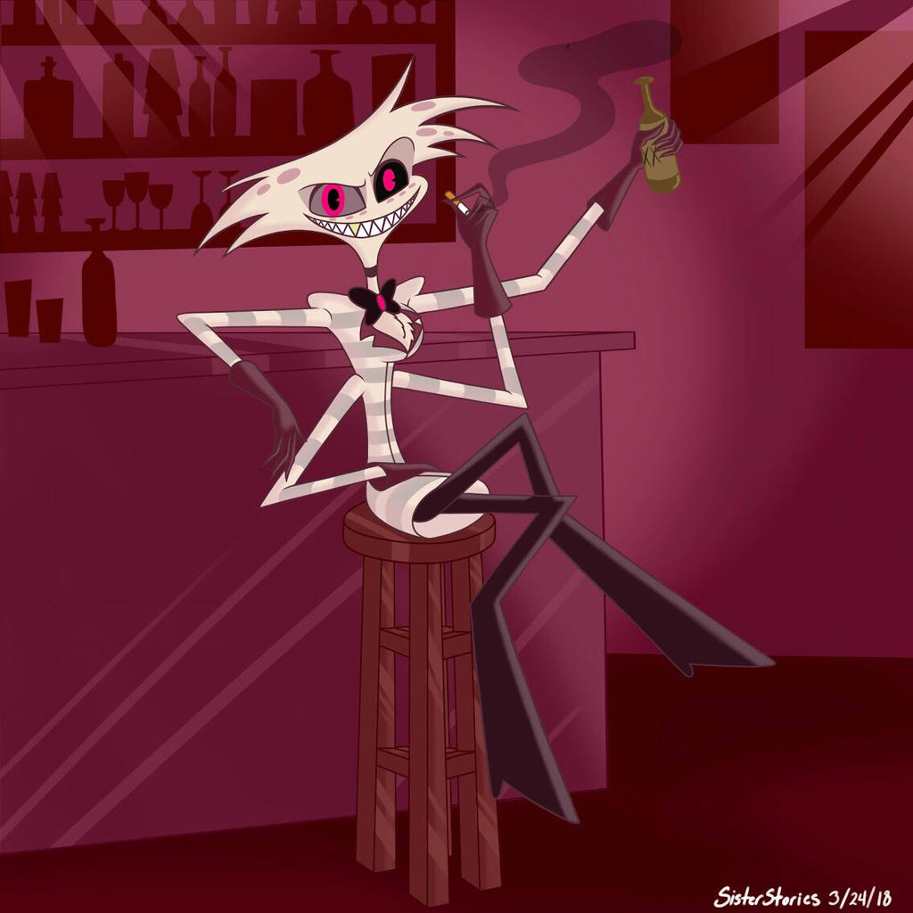 Hazbin Hotel-Angel Dust and a drink by SisterStories