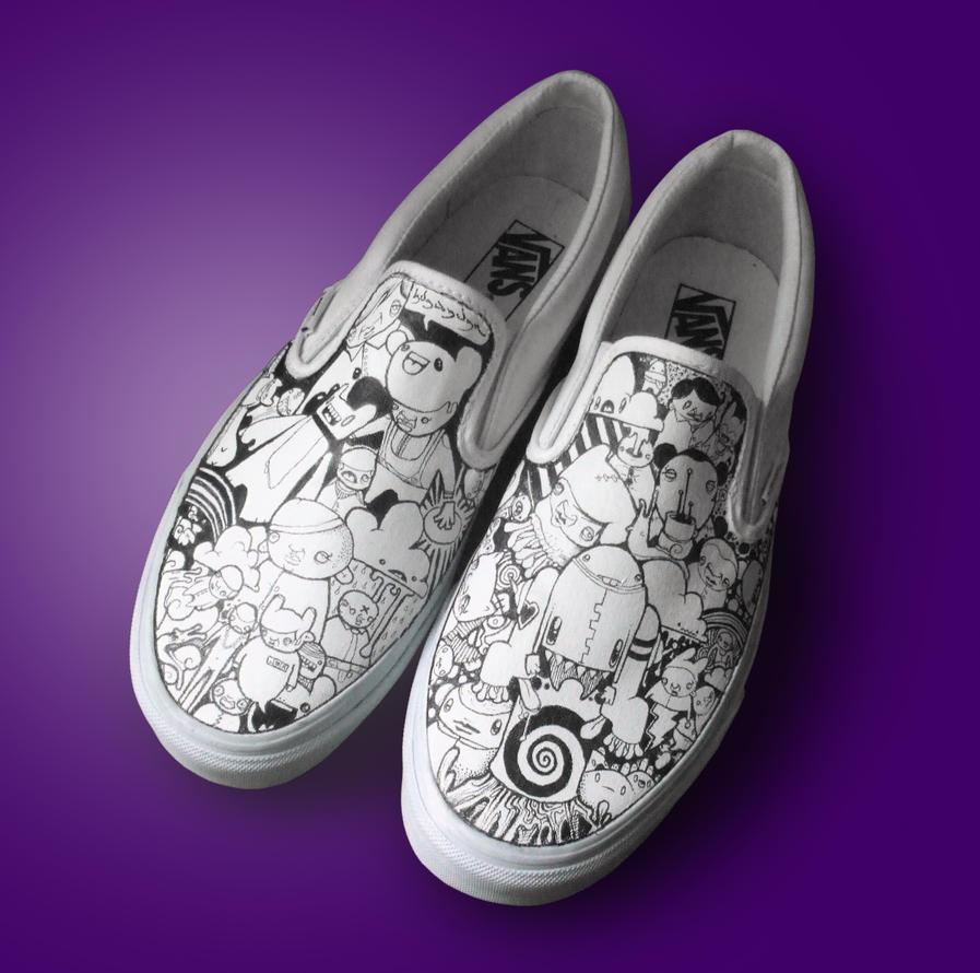 Custom White Vans By Thehermitdesign