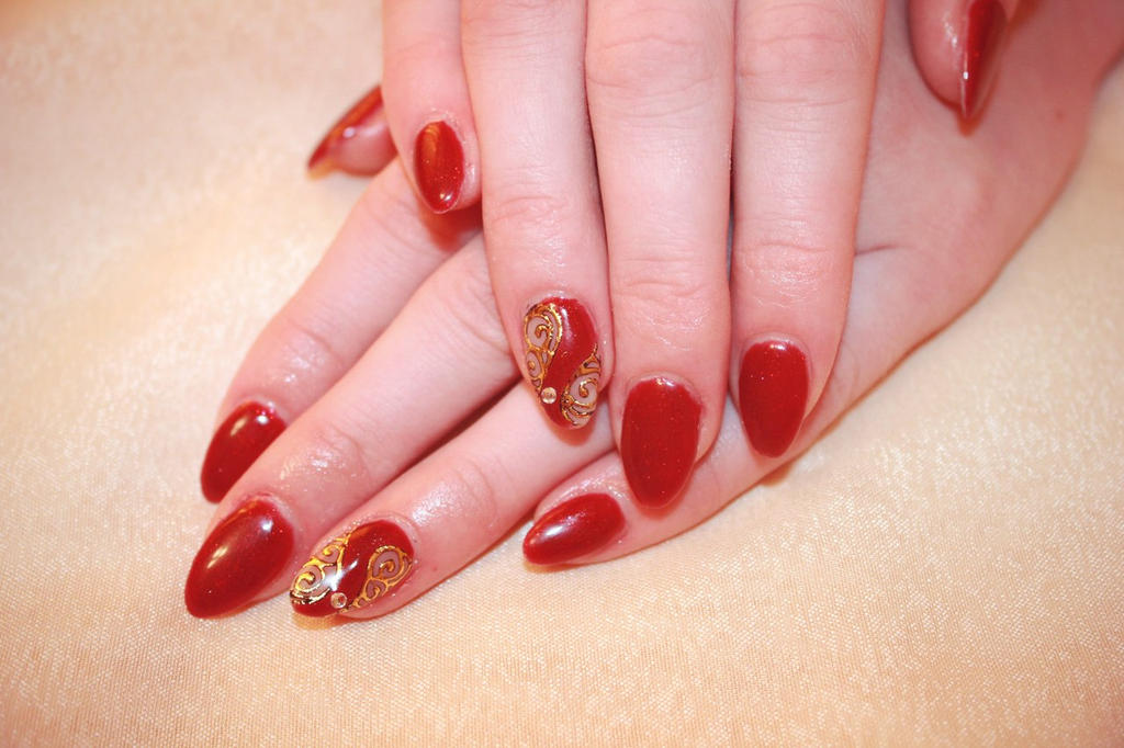 Red and Gold nails by Sema-NailArt on DeviantArt