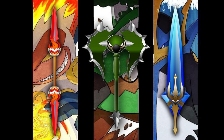 Sinnoh Starters Final Evolution by darkheroic