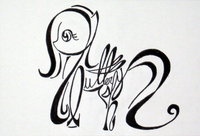 Calligraphy Fluttershy By Whiteheather On Deviantart
