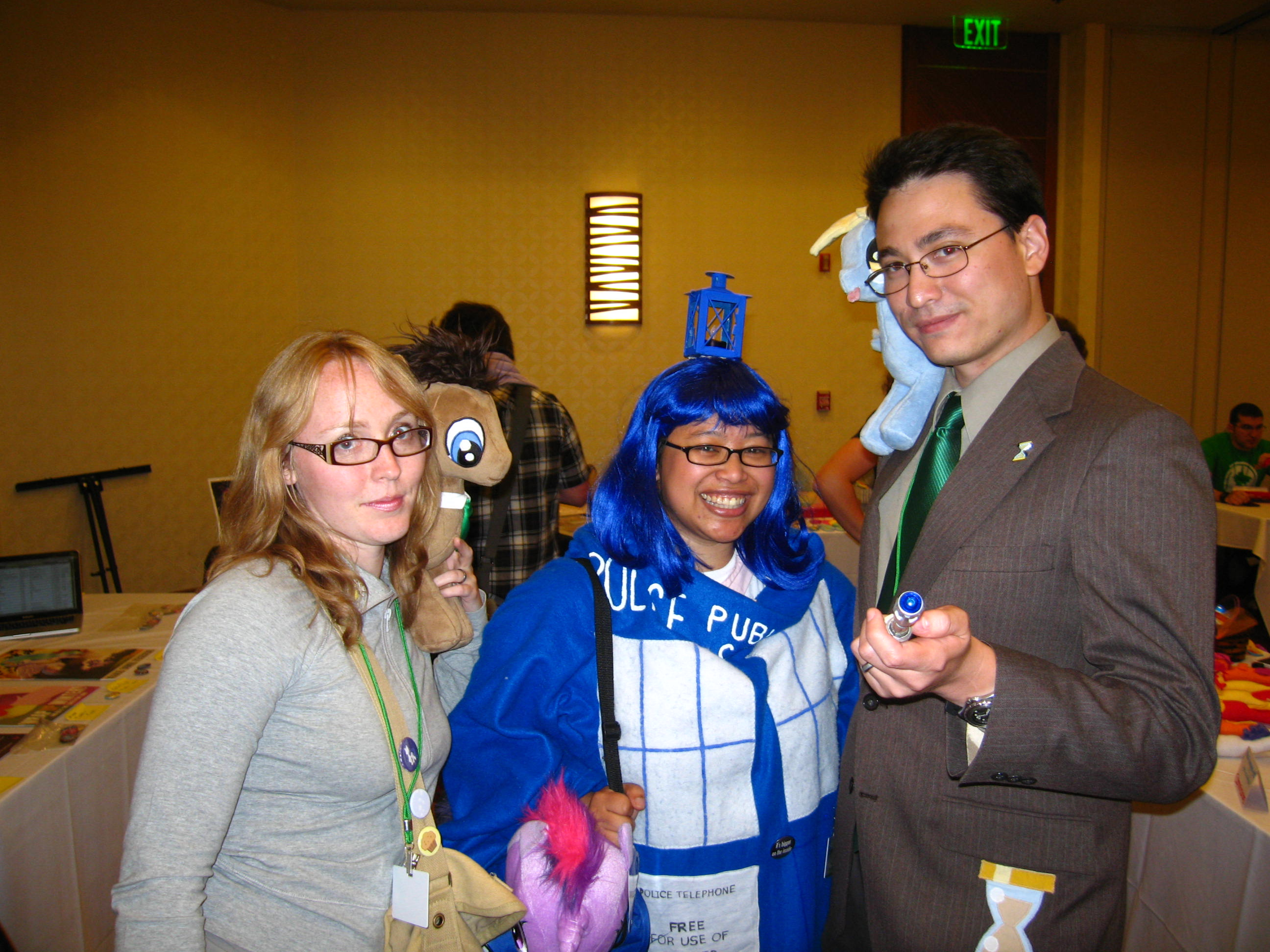 Derpy, Doctor Whooves, and TARDIS cosplay by WhiteHeather