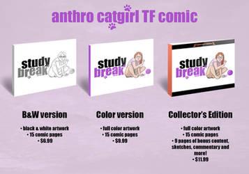 Study Break - anthro catgirl TF comic by sortimid
