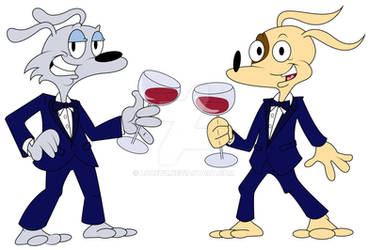 Mad Dog and Spot looking fancy