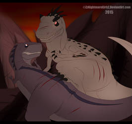 Chomper vs Indominus Rex by ZheyZhey