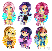 Chibi MLP - The mane 6 by Nataliadsw