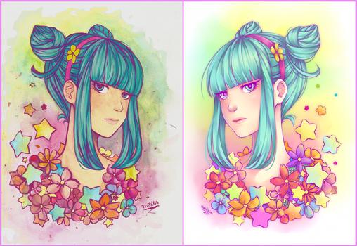 Girl - Daoko : Watercolor and Digital