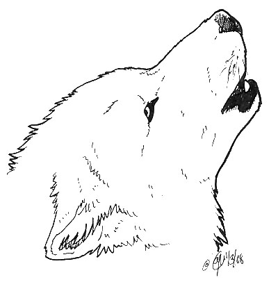 Sketches Of Wolves Howling At The Moon Coloring Pages
