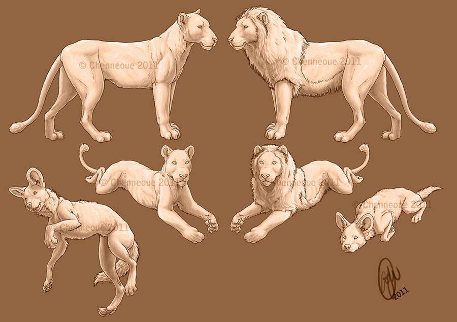 Dog and Lion premades finished by chenneoue on DeviantArt
