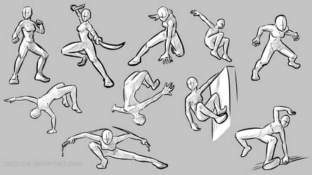 Action Pose reference sheet by Zaccura