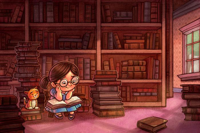 Library by danidraws