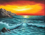 Seascape Oil on Canvas with brush and knife