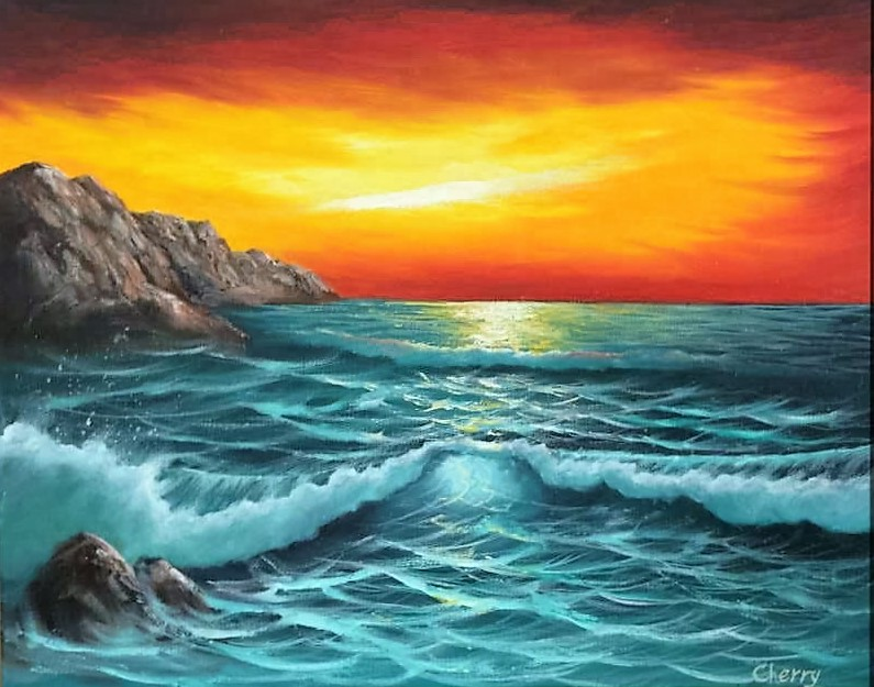 Seascape Oil on Canvas with brush and knife by uchihacrush
