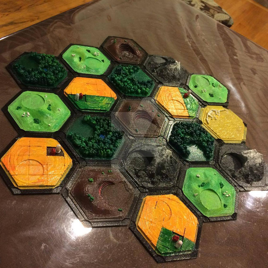 Settlers of Catan! hand painted and 3D printed by uchihacrush