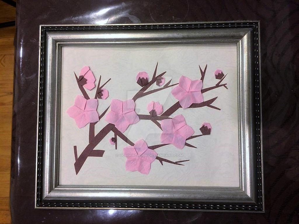 Framed Sakura origami painting by uchihacrush