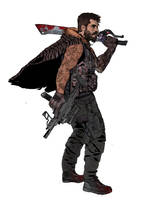 cyberpunk swordsman by ashleyboonePierce