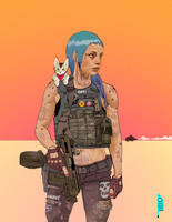 cyberpunk with shoulder cat by ashleyboonePierce
