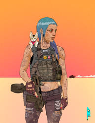 cyberpunk with shoulder cat by ashleyboonePierce