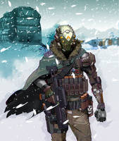 space bounty hunter on snowy planet