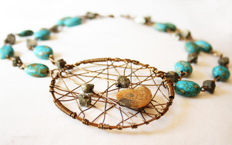 One-of-a-kind ammonite necklace by Catwagons