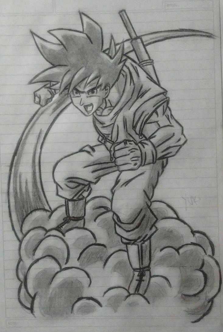 Goku pencil draw by yukiwatakashi