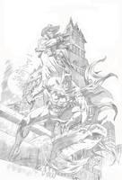 BATMAN AND SHADOW ( pencil) by RAFAELGALLUR