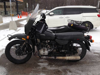 Ural motorcycle in the snow by Ripplin