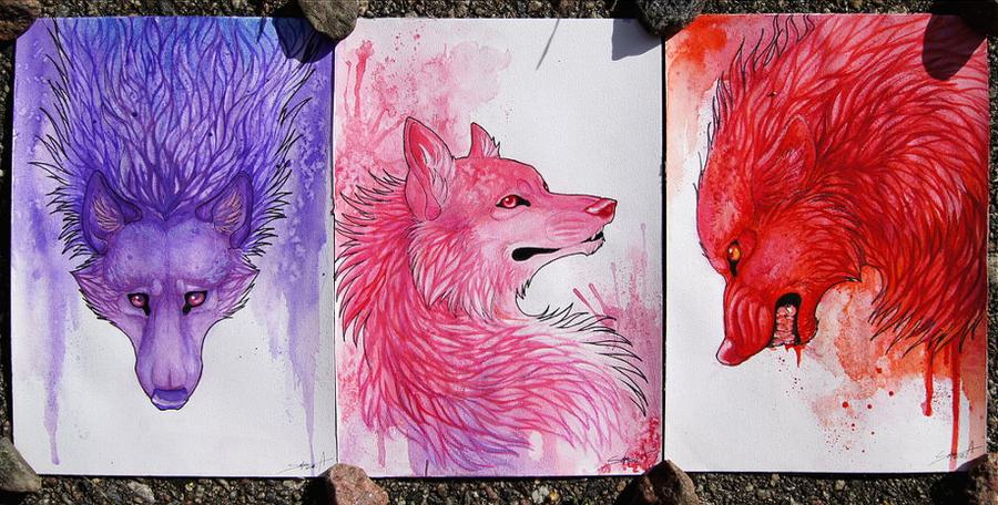 Colorful Wolves I by TransparentGhost on DeviantArt
