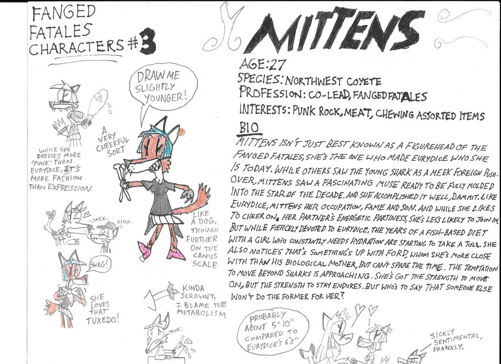 Fanged Fatales Profiles: Mittens The Coyote by astrolupine