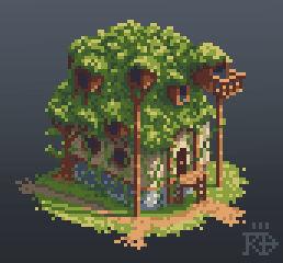 Isometric pixel art overgrown house