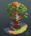 Isometric pixel art treehouse by the water