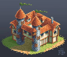 Isometric pixel art medieval / fantasy building by RGBfumes