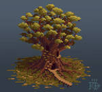 Isometric pixel art inhabited tree in the marshes