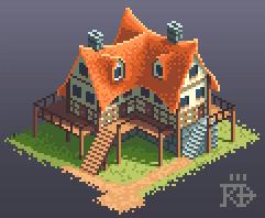 Isometric pixel art inn house