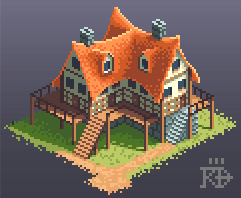 Isometric pixel art inn house