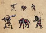 Pixel art zombie, skeleton and undead dog