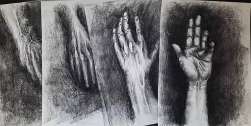 Charcoal hands