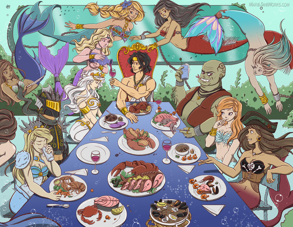 Mermaid Dinner ~ Commission by MarieJaneWorks
