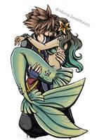 Sora and his Mermaid by MarieJaneWorks