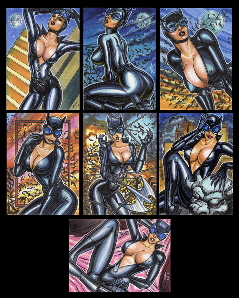 CATWOMAN PERSONAL SKETCH CARDS 2012 by AHochrein2010