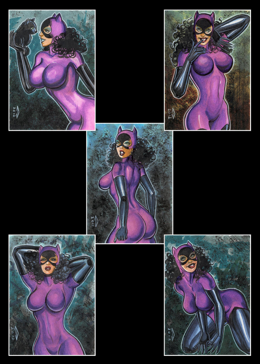 CATWOMAN 5 SKETCH CARDS by AHochrein2010