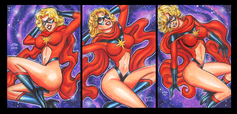 MS. MARVEL PERSONAL SKETCH CARDS FEBRUARY 2014 by AHochrein2010