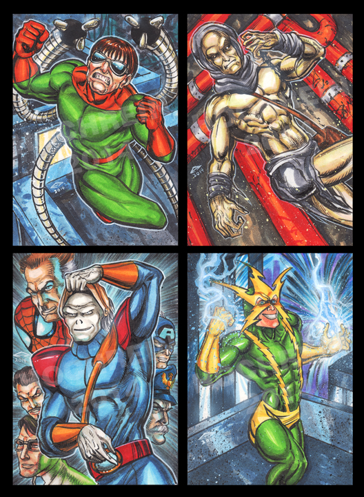 Spidey Villains sketch card commissions group 2 by AHochrein2010