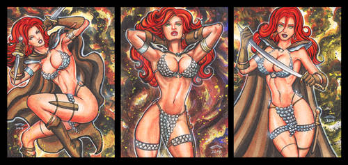 RED SONJA PERSONAL SKETCH CARDS 9-2014 by AHochrein2010