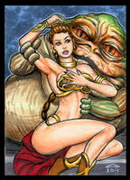 SLAVE LEIA AND JABBA SKETCH CARD REVISION by AHochrein2010