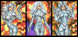 SILVER SABLE PERSONAL SKETCH CARDS by AHochrein2010