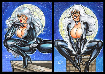 BLACK CAT PERSONAL SKETCH CARDS MARCH 2015 by AHochrein2010